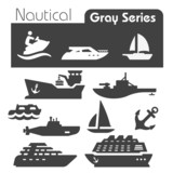Nautical icons gray series