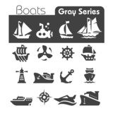 Boats Icons Gray series
