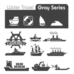 Water Travel Icons Gray series