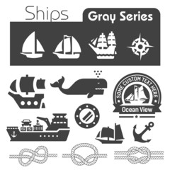 Ships icons gray series