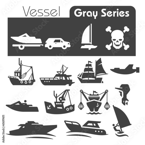 vessels Icons Gray Series