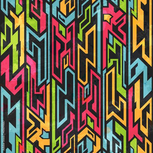 colored tribal graffiti seamless pattern - 61699887
