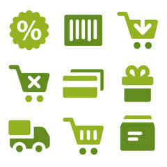 Shopping web icons set, green series