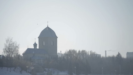 Old church in winter day