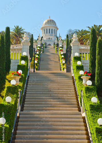 Bahai Gardens Stairs and temple
