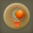Basketball icon, long shadow vector icon
