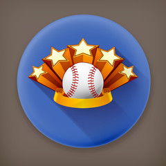 Baseball Emblem, long shadow vector icon