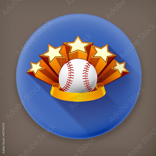 Baseball Emblem, long shadow vector icon