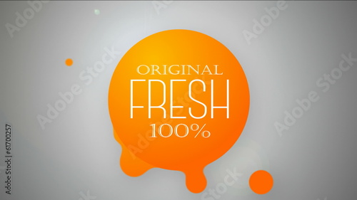 Original Fresh 100%. Orange drops animated.