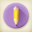 Pencil, long shadow vector icon