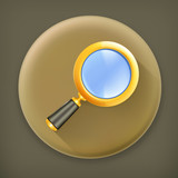 Magnifying lens, long shadow vector icon