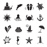 Summer icons. Vector of black color.
