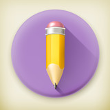 Pencil, long shadow vector icon