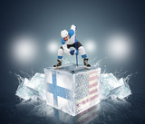 Final gameFinland vs USA. Hockey player on ice cube