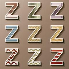 Set of Retro Style Alphabet Z, Eps 10 Vector, Editable for Any B