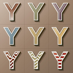 Set of Retro Style Alphabet Y, Eps 10 Vector, Editable for Any B