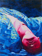Acrylic painting of woman lie down upside down