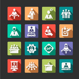 flat human resources and management icons