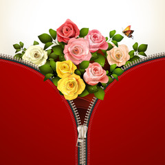 Metallic zipper with roses