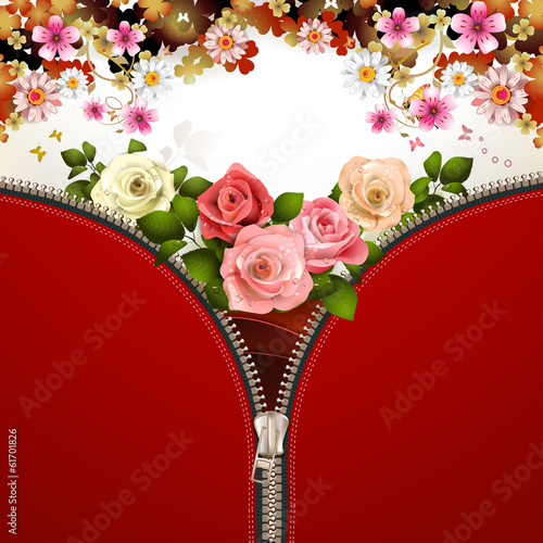 Metallic zipper with flowers