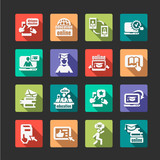 flat online education icons