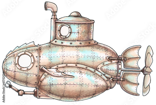 Steam-punk submarine