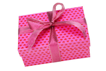 pink gift box with heart pattern isolated on white