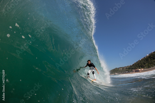 Surfer Surfing Crashing Inside Wave Water