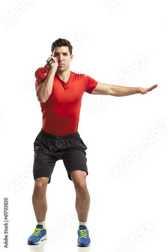 man doing cross fit training isolated on white background