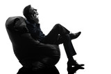 man sitting on the telephone silhouette