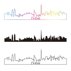 Dubai skyline linear style with rainbow