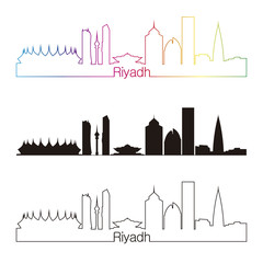 Riyadh skyline linear style with rainbow