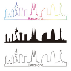 Barcelona skyline linear style with rainbow