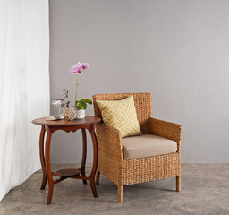 Rattan chair in lounge setting