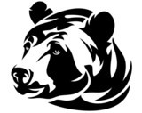 bear (ursus arctos) head black and white vector design