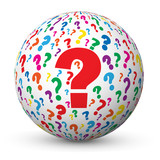"Globe ""QUESTIONS"" (points d'interrogation FAQs pourquoi comment)"