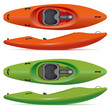 river running kayaks in red and green colors