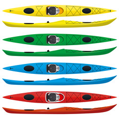 set of touring sea kayaks