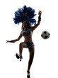 woman samba dancer playing soccer  silhouette