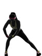 woman exercising fitness stretching warm up silhouette