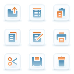 Document web icons, white glossy buttons