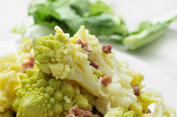 sauteed romanesco broccoli with bacon