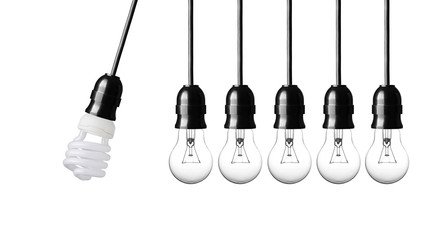 Perpetual motion with light bulbs isolated on white