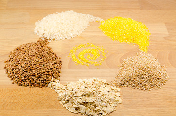 Grains of buckwheat, rice, wheat