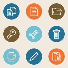 Document web icon set 1, color circle buttons