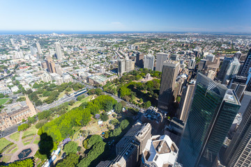 Aerial View of Sydney Looking Towards Hyde Park