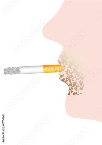 Cigarette in lips
