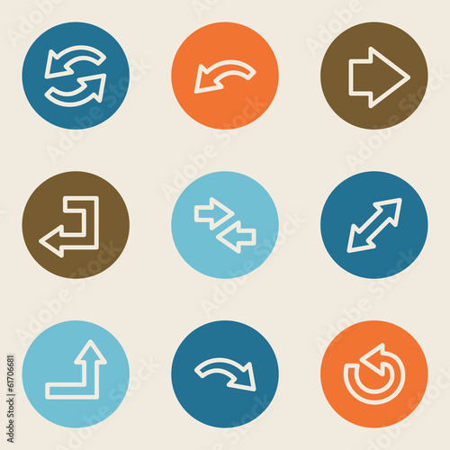 Arrows web icon set 1, color circle buttons