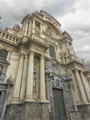 Murcia Cathedral of the year 1465 a day of storm, in Murcia, Spa