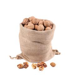 Sack full of walnuts. Close up.
